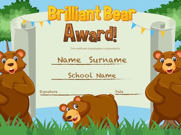 Modelo de certificado para prêmio urso brilhante com ursos
