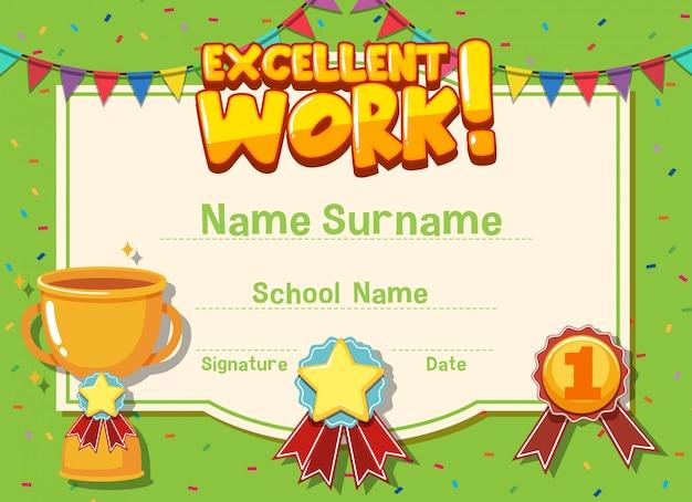 Modelo de certificado para um excelente trabalho com o troféu i
