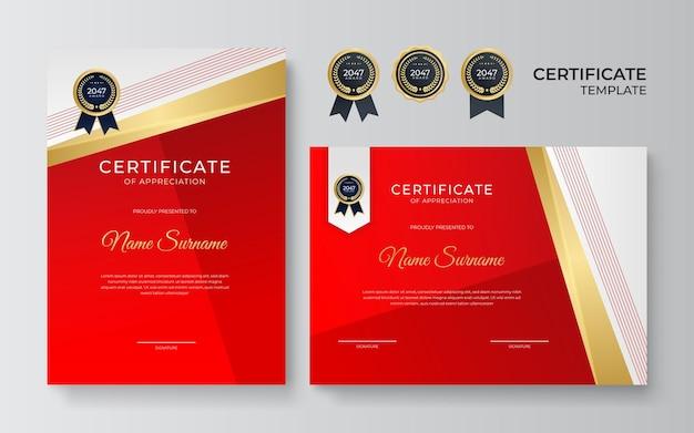 Modelo de certificado premiado. diploma de design moderno ou vale-presente. ilustração vetorial no tema de cores vermelho e dourado