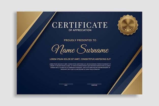 Modelo de certificado premium concede fundo de diploma