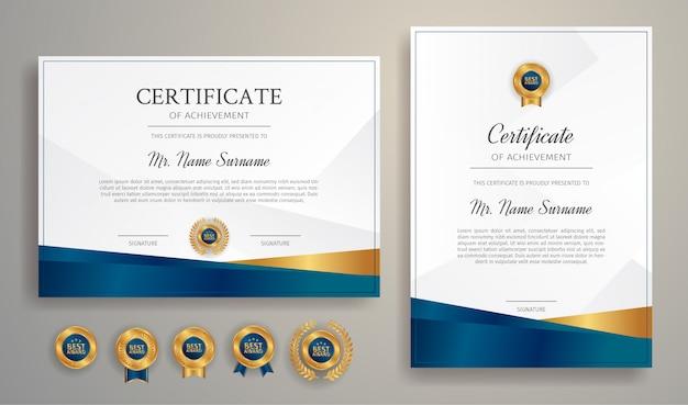 Modelo de certificado premium de modelo de conquista, cor azul e ouro com emblemas