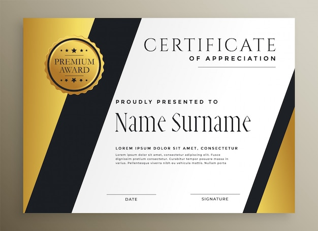Modelo de certificado premium multiuso geométrico dourado