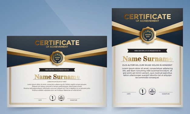 Modelo de certificado premium preto e azul dourado
