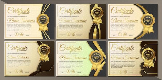 Modelo de certificado preto dourado premium