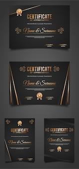 Modelo de certificado preto e dourado com design elegante