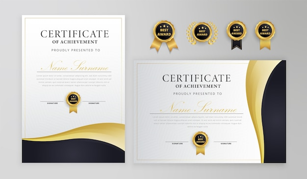 Modelo de certificado preto e dourado com medalhas
