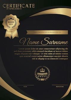 Modelo de certificado preto premium com ouro escuro