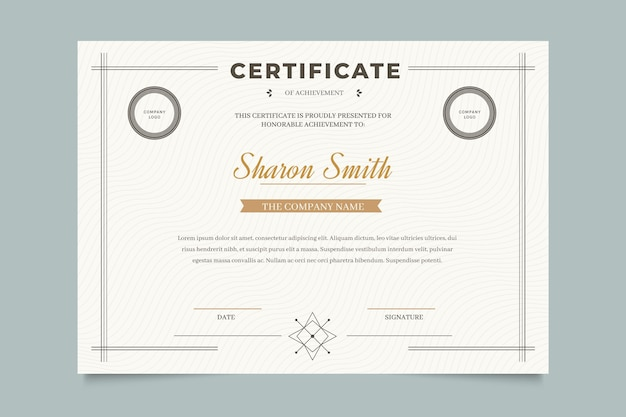 Modelo de certificado profissional elegante