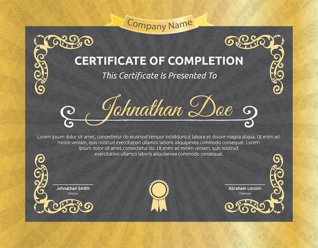 Modelo de certificado retro dourado