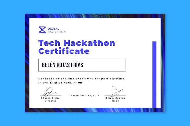 Modelo de certificado vencedor de hackathon tecnológico minimalista moderno