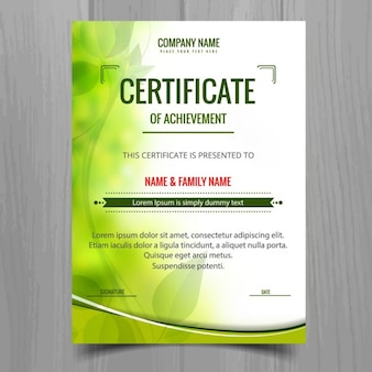 Modelo de certificado verde brilhante