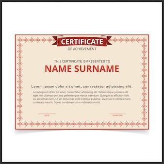 Modelo de certificado vetorial com bordas vermelhas