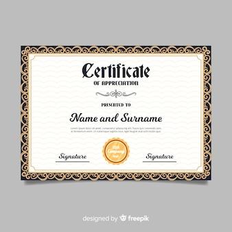 Modelo de certificado vintage
