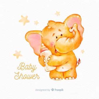 Modelo de chuveiro de bebê adorável aquarela