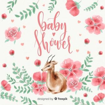 Modelo de chuveiro de bebê aquarela