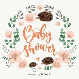 Modelo de chuveiro de bebê fofo aquarela