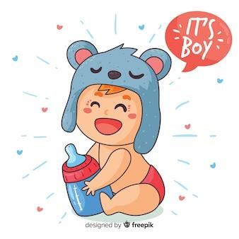 Modelo de chuveiro de bebê para menino