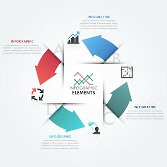 Modelo de ciclo de infografia moderna com 4 setas planas