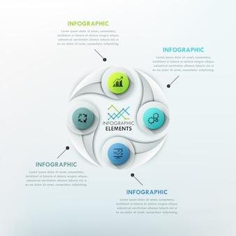 Modelo de ciclo de infografia moderna com formas de gota