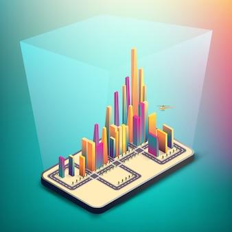 Modelo de cidade inteligente, conceito abstrato. grupo de edifício colorido em smartphone, conectando com brilhos flare