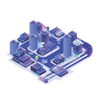 Modelo de cidade inteligente isolado no branco
