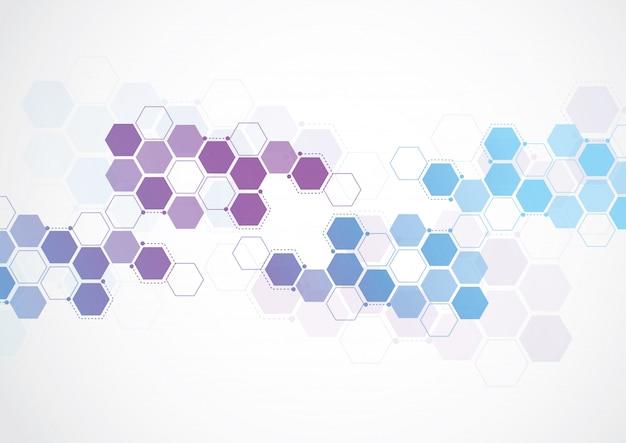 Modelo de ciência, papel de parede ou banner com moléculas de dna.