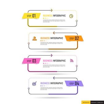 Modelo de cinco etapas de infográfico criativo.
