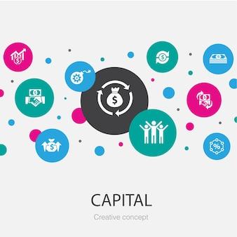 Modelo de círculo da moda capital com ícones simples. contém elementos como dividendos, dinheiro, investimento, sucesso