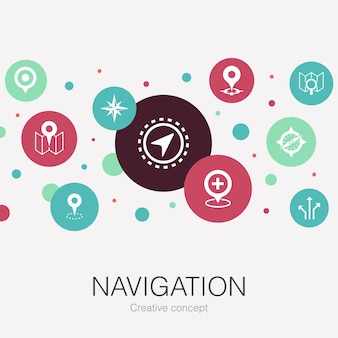 Modelo de círculo da moda de navegação com ícones simples. contém elementos como localização, mapa, gps, direção