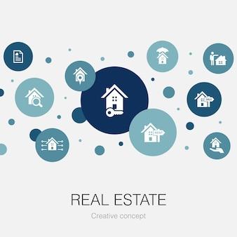 Modelo de círculo da moda no setor imobiliário com ícones simples