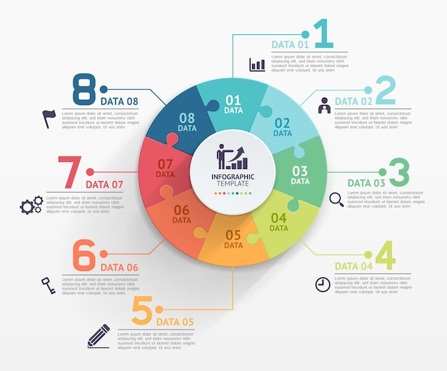 Modelo de círculo de infográficos de quebra-cabeça