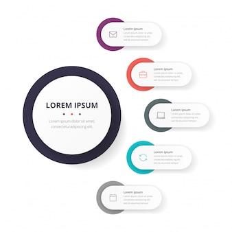 Modelo de círculo de negócios com 5 opções para brochura, diagrama, fluxo de trabalho, linha do tempo, design web.