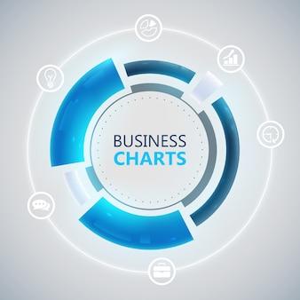 Modelo de círculo infográfico com gráfico de negócios azul e ícones brancos