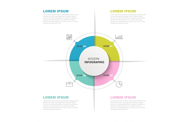 Modelo de círculo infográfico com ícones e 4 etapas ou opções.