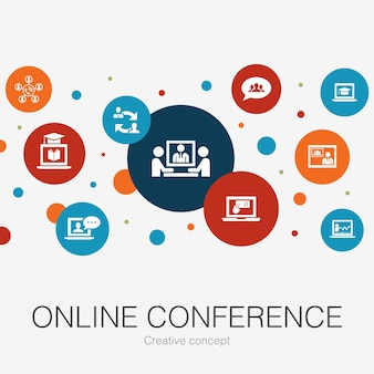 Modelo de círculo moderno de conferência online com ícones simples