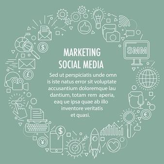 Modelo de círculo social media marketing.