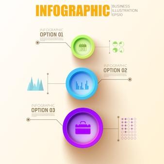 Modelo de círculos infográfico com botões redondos coloridos e ícones de negócios