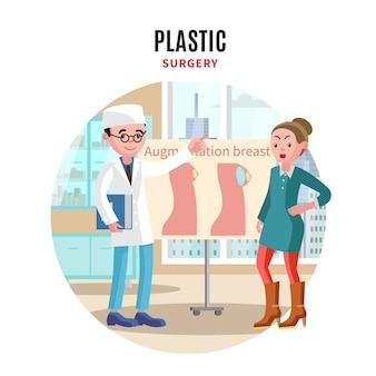 Modelo de cirurgia plástica colorida