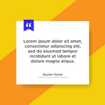 Modelo de citação com espaço reservado para texto em estilo de papel na moda