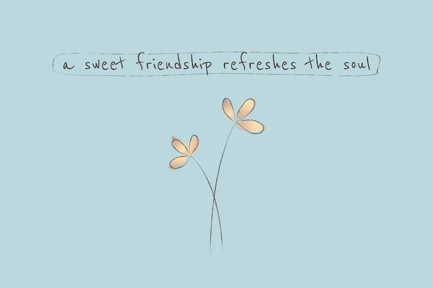 Modelo de citação de amizade em fundo azul estético