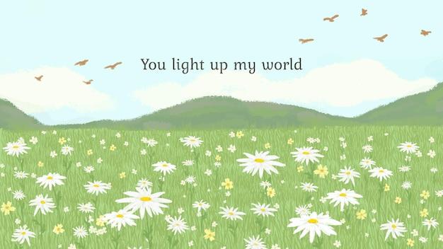 Modelo de citação fofa editável com você iluminando o texto do meu mundo
