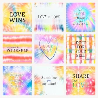 Modelo de citação inspiradora para postagem em mídia social sobre conjunto colorido de tie-dye