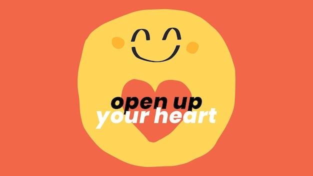 Modelo de citação positiva com banner social do ícone do smiley doodle