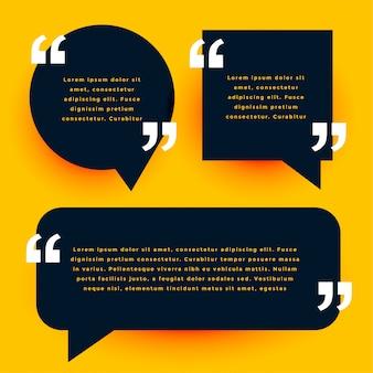Modelo de citações modernas preto no estilo de bolha de bate-papo
