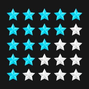 Modelo de classificação por estrelas com estrelas coloridas. ilustração.
