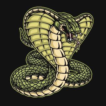 Modelo de cobra-rei verde em estilo vintage