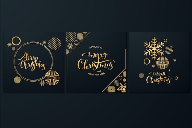 Modelo de cobre rosa de feliz natal definido com renas de férias e elementos de bronze de natal em estilo low poly. ideal para cartão postal, cartaz ou web design.