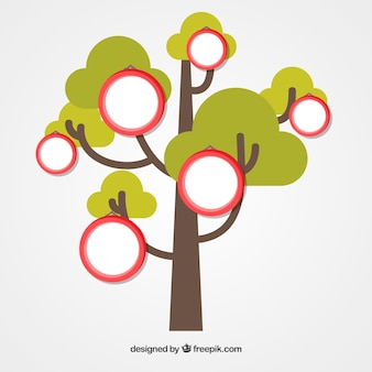 Modelo de colagem de fotos com árvore plana