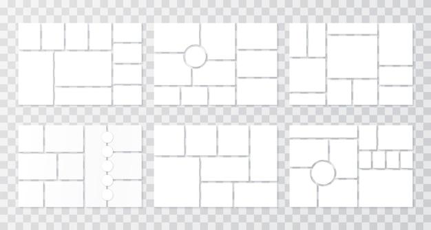 Modelo de colagem de fotos. grades de moodboards. ilustração vetorial.