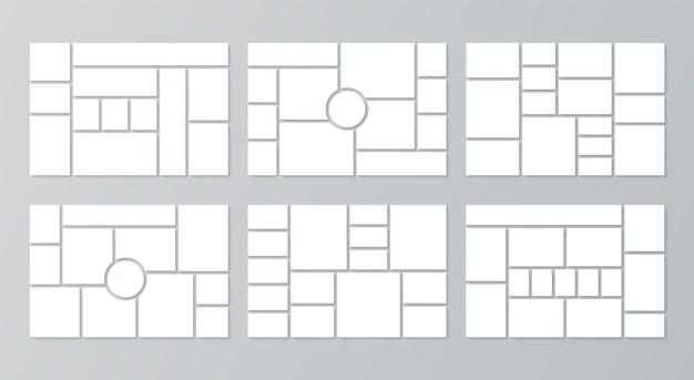 Modelo de colagem de fotos. moodboard. ilustração vetorial. conjunto de grades de fotos.